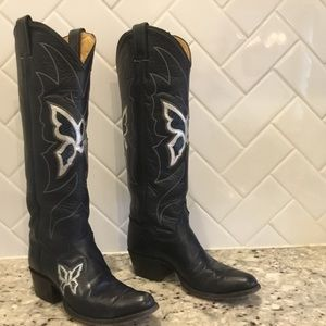 Vintage 70's Justin butterfly inlay tall boots.